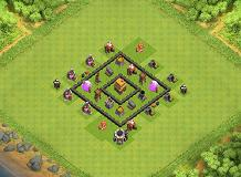 TH4 Square Base TH 4 Clash of Clans Base Layout