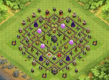 hog round trophy TH 9 Clash of Clans Base Layout