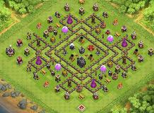 Open Lane TH 9 Clash of Clans Base Layout