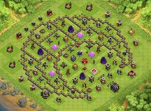 TH9 The Crescent (Insane loot defense) TH 9 Clash of Clans Base Layout