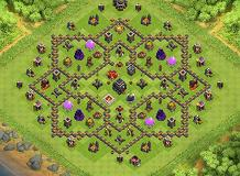Walls TH 9 Clash of Clans Base Layout