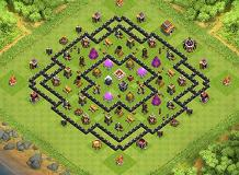 Testing 2 Agresive defense TH 8 Clash of Clans Base Layout
