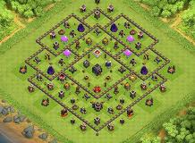 Anti-3 Save and Push TH 9 Clash of Clans Base Layout
