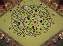 half moon TH 9 Clash of Clans Base Layout