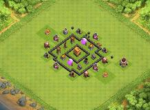even trophies TH 4 Clash of Clans Base Layout