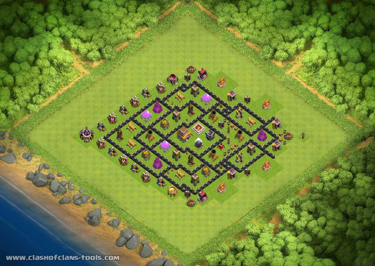 Coc th8 base design - New Best Layout Th 8 Clash Of Clans Base Layout