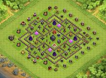 Hybrid Beauty TH9 TH 9 Clash of Clans Base Layout